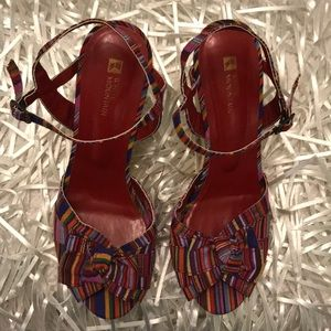 Red Multicolor Twist Wedge Heels, 9.5M